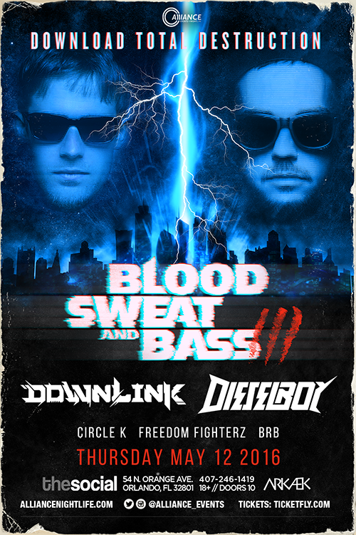 BLOOD SWEAT AND BASS TOUR, DOWNLINK, DIESELBOY, FREEDOM FIGHTERZ, SAFE IN SOUND, EDM, DUBSTEP, HYBRID ROCK, BEFREETV, UPBEAT DRUMMER, EXIT FIVE